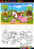 Farm and Livestock Animals for Coloring. Coloring Book or Page Cartoon Illustration of Funny Farm and Livestock Animals for Children Education stock illustration