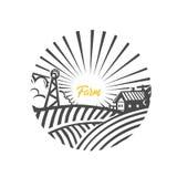 Farm logo. Black and white illustration. Farm logo. Black and white vector illustration vector illustration