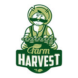 Farm logo with a farmer Stock Photography