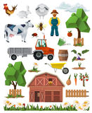 Farm, low poly set of vector icons Stock Photography