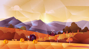 Farm low poly, vector background Royalty Free Stock Photo