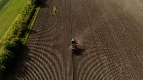 Farm machinery harvesting potatoes. Farmer field with a potato crop. Shooting from the air. stock footage