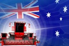 Digital industrial 3D illustration of red modern rural combine harvesters on Australia flag, farming equipment modernisation