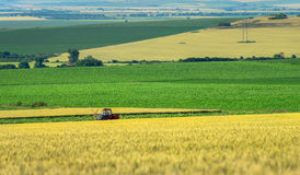 Farm machinery spraying insecticide to the green field, agricult Royalty Free Stock Images