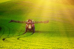 Farm machinery spraying insecticide Royalty Free Stock Image