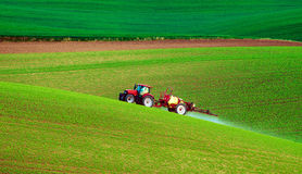 Farm machinery spraying insecticide Royalty Free Stock Photography