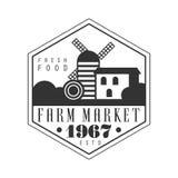 Farm market estd 1967 logo. Black and white retro vector Illustration Stock Image