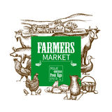 Farm Market Frame Stock Photography
