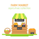 Farm market illustration. Vector stall with fruits and veggies. Farm fresh vegetables. Vegan store. Flat argiculture Royalty Free Stock Photos