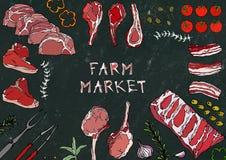 Farm Market. Meat Cuts - Beef, Pork, Lamb, Steak, Boneless Rump, Ribs Roast, Loin and Rib Chops. Tomato, Olives, Bell Pepper, Onio. N,Garlic Herbs Fork Tongs Stock Photography
