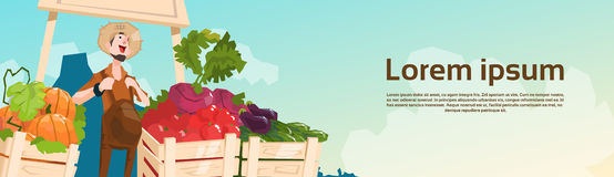 Farm Market Organic Eco Fruits Vegetables Grocery. Flat Vector Illustration Royalty Free Stock Photography