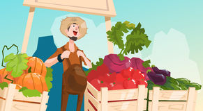 Farm Market Organic Eco Fruits Vegetables Grocery. Flat Vector Illustration Stock Photo