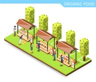 Farm Market Organic Food Composition. Farm market with organic food isometric composition with vegetables, preserves, meat and fish on counters vector Royalty Free Stock Image