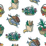 Farm Market Purchases Seamless Pattern. Seamless Pattern with Farm Market Purchases. Wicker Baskets and Paper Bags on a White Background Royalty Free Stock Photos