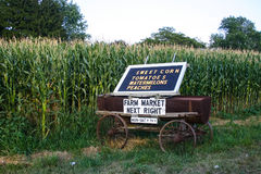 Farm Market Wagon. An old wagon is used for a farm market sign in Lancaster County, PA royalty free stock photography