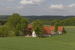 Farm in May, Osnabrueck country region, Lower Saxony, Germany. Europe Stock Photo