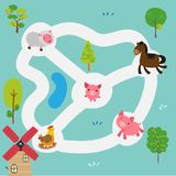 Farm maze game vector design stock illustration