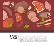 Farm meat and sausages products vector poster for butchery delicatessen shop or market. Farm meat products poster of sausages and butchery delicatessen for shop stock illustration
