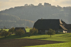 Farm in the middle of nature. Switzerland Stock Photography