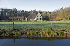 Farm Midlum in the landscape of Dutch Open Air Museum in Arnhem Royalty Free Stock Images