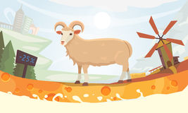 Farm milk sheep cartoon illustration Royalty Free Stock Photo
