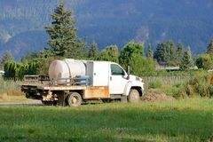 Farm Mobile Chemical Pesticide Truck. Profile view of an agricultural chemical truck used for spraying pesticide on crop weeds stock photography