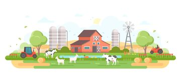 Farm - modern flat design style vector illustration. On white background. A composition with a village, a barn, trees, pond, windmill, silage towers, animals royalty free illustration