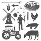 Farm Monochrome Elements Set. With man windmill and tractor animals and vegetables rural landscape isolated vector illustration Royalty Free Stock Photography