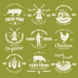 Farm Monochrome Emblems Stock Photo