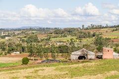 Farm and mountain Stock Photo