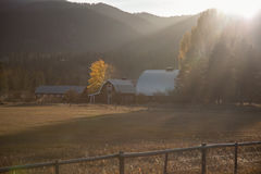 Farm by mountain Royalty Free Stock Images