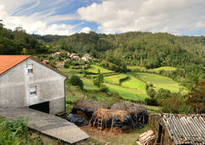 Farm in mountains of galicia royalty free stock image