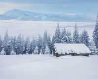 Farm in the mountains in winter Royalty Free Stock Photography