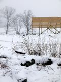 Farm: new barn construction winter fog Royalty Free Stock Photography