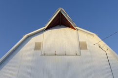 A farm in Northern Iowa and a metal barn Stock Photos