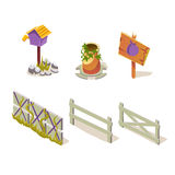 Farm Objects Simplified Cute Illustration Set Stock Image