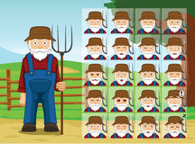 Farm Old Man Cartoon Emotion faces Vector Illustration Stock Photo