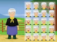 Farm Old Woman Cartoon Emotion faces Vector Illustration Stock Image