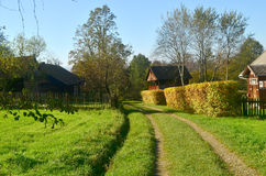 Farm. Old wooden farmhouse surrounded by greenery Royalty Free Stock Image