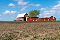 Farm in open field. Wooden red farm buildings in open  field on a Spring afternoon.  Bureau County, Illinois, USA royalty free stock photo