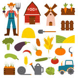 Farm organic food agriculture in village elements vegetables, fruits, hay, farm building, animals, farmer, tractor Royalty Free Stock Photo