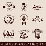 Farm organic food emblems and labels set Royalty Free Stock Photos