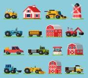 Farm Orthogonal Flat Icons Set Stock Images