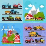Farm Orthogonal Flat 2x2 Icons Set Stock Images