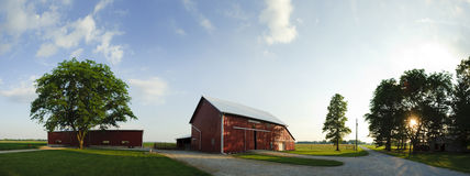 Farm Panorama. Mid West farm at sunset Royalty Free Stock Photo