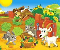 The farm panorama - fun place - illustration for the children Stock Photo