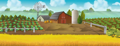 Farm. Panorama landscape Royalty Free Stock Photos