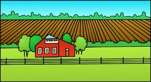 Farm with plowed field and barn royalty free stock image