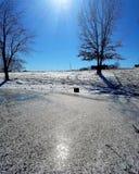 Winter Frozen Pond Landscape stock photos