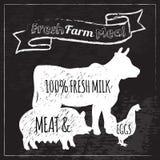 Farm Poster Chalkboard Stock Photos